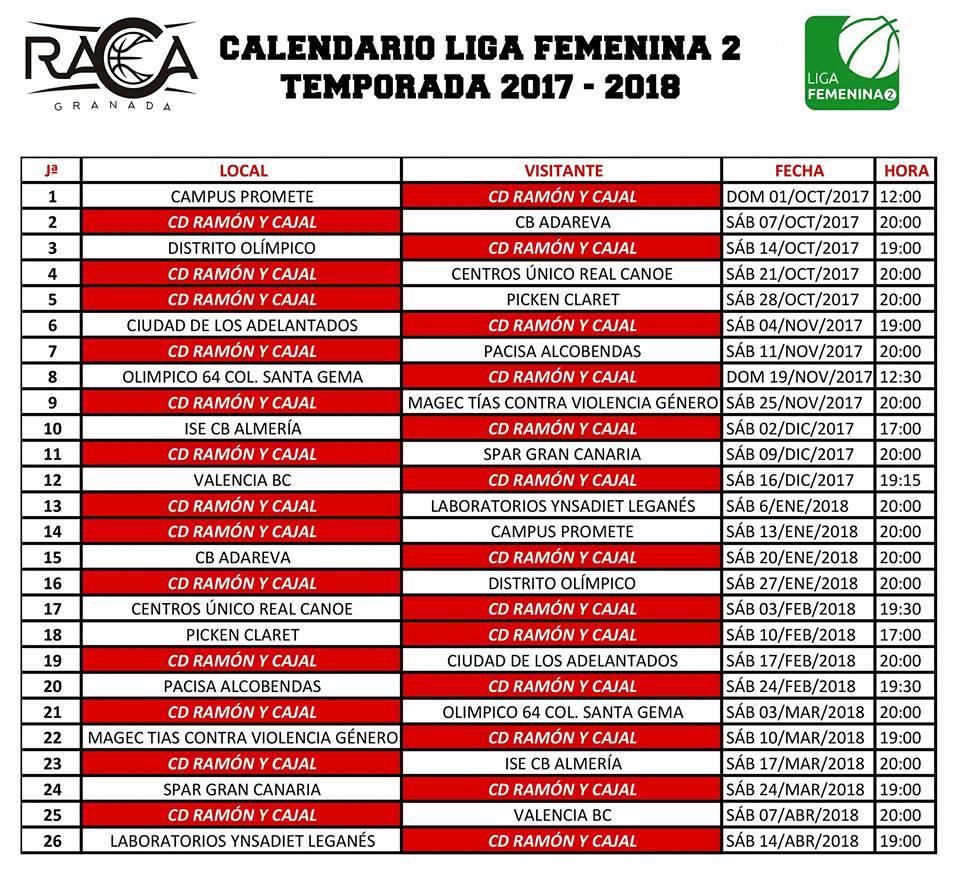 Calendario Liga Femenina.El Raca Ya Conoce Calendario 2017 2018 Granada Polideportiva